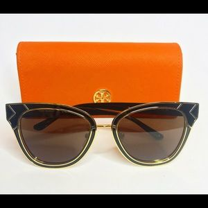 Tory Burch Square Enamel Sun Ray Sunglasses